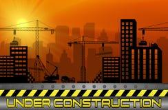 Konstruktionsplatser med byggnader och kranar stock illustrationer