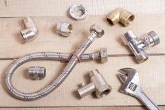 konstruktionstabellen tools trä Bakgrund för sanitär teknik Top beskådar Royaltyfria Foton
