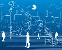 Konstruktionsväxt Arbeta för folk Branschmaskineri, kranar och bulldozrar Stads- byggnadsillustration för infrastruktur vektor stock illustrationer