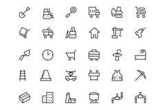 Konstruktionsvektorlinje symboler 2 Arkivbild
