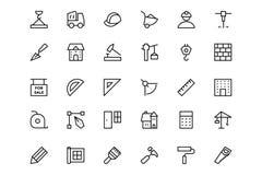 Konstruktionsvektorlinje symboler 1 Arkivfoto