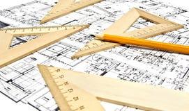 Konstruktionszeichnungsausrüstung Lizenzfreie Stockfotos