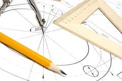 Konstruktionszeichnungsausrüstung Lizenzfreie Stockbilder