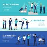 Konstruktywnie Biznesowej konfrontaci Płascy sztandary Ustawiający royalty ilustracja