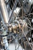 Konstruować motocyklu koła części Dyska hamulca spo i zawieszenie zdjęcia stock
