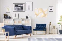 Konstsamling och soffa arkivbilder