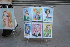 Konstscetches i den Arbat gatan, Moskva Royaltyfri Fotografi