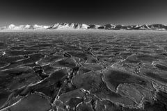 Konstsikt på vinterarktisk Vitt snöig berg, blå glaciär Svalbard, Norge Is i havet Isberg i nordpolen Global warmin Arkivfoto