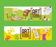 Konstskola för nybörjare ställde in av baner Flicka och pojke som drar, målning som skissar på staffli Utbildning njutning stock illustrationer