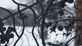 Konstsmidebeståndsdelar och järnstaket Lockiga dekorativa beståndsdelar för grov metall Tappningdekorbeståndsdelar Staketdesign arkivfoton