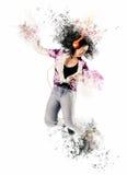 Konststående av en kvinna som lyssnar till musik Royaltyfri Foto