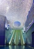 Konstströmkrets av den Naples tunnelbanan, underjordisk passage från den Toledo stationen Royaltyfria Foton