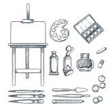 Konsttillförsel, skissar illustrationen Teckning målning, kalligrafidesignbeståndsdelar Hantverk- och brevpappermaterial vektor illustrationer