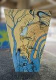 Konstväggmålningen i konsten parkerar djupa Ellum, Dallas, Texas Arkivfoton