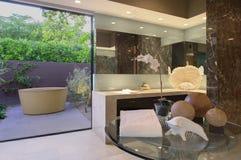 Konstverk av det fristående badet i badrum Arkivfoton