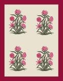 Konstverk för tappning för för Mughal blommaillustration och växt manuellt vektor illustrationer