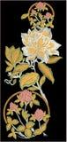 Konstverk förhöjda Digital för tappning för illustration och för växt för textiltryckMughal blomma manuellt stock illustrationer