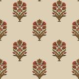 Konstverk förhöjda Digital för tappning för för Mughal blommaillustration och växt manuellt stock illustrationer