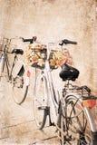 Konstverk i tappningstil, cyklar Arkivfoton