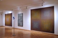 Konstverk på det Vasarely museet i den Pecs Ungern Arkivbild