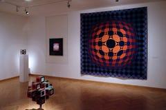 Konstverk på det Vasarely museet i den Pecs Ungern Royaltyfri Fotografi