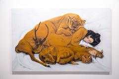Konstverk visade i Istanbul moderna Art Museum royaltyfri fotografi