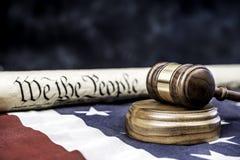 Konstytucja i młoteczek Fotografia Royalty Free