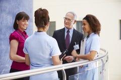 Konsulenter som möter sjuksköterskor som använder den Digital minnestavlan arkivfoto