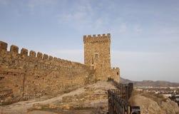 Konsulärt torn av den Genoese fästningen i den Krim halvön Royaltyfria Bilder