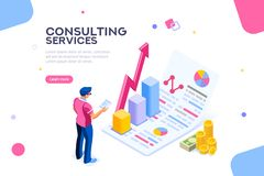 Konsultieren Sie Konzept-Verwaltungs-korporativen isometrischen Vektor lizenzfreie abbildung
