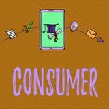 Konsument för textteckenvisning Begreppsmässigt foto som visar vem inhandlar varor och tjänst för demonstratingal användning stock illustrationer