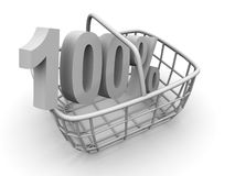 Konsument korg med procent royaltyfri foto