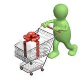 Konsument med shoppingvagnen och gåvor stock illustrationer