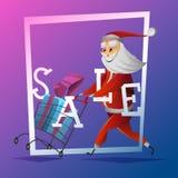 Konsument Santa Claus med jul och gåvan för nytt år på shoppingvagnen royaltyfri illustrationer