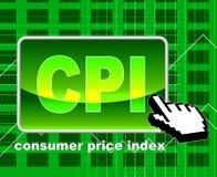 Konsumentprisindexet betyder world wide web och sökande Arkivbilder