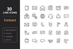 30 kontaktów Kreskowych ikon Zdjęcia Royalty Free