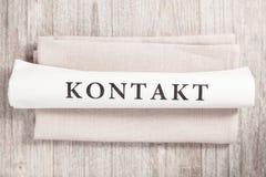 Kontakt (用德语) 库存图片