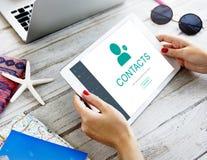 Kontakt-Adressbuch-Kommunikations-Informations-Konzept Stockfotografie
