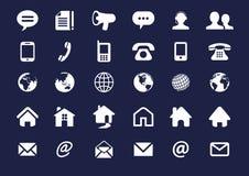 Kontakt för internetsymbolsuppsättning vektor för 30 beståndsdelar Arkivbilder