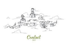 Kontakt-Konzept Hand gezeichneter lokalisierter Vektor lizenzfreie abbildung