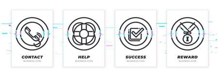Kontakt, pomoc, sukces, nagroda Biznesowy temat glitched czarne ikony ustawiać ilustracji