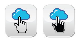 Kontakt - Umschlag, E-Mail, Spracheblase mit Cursor-Handikonen Stockfoto