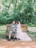 Kontakt wzrokowy nowożeńcy pary obsiadanie na ławce w parku zdjęcie royalty free
