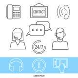 Kontakta mitten eller online-servicebegreppet med linjen symboler vektor illustrationer
