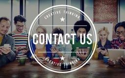 Kontakta oss begreppet för omsorg för kunden för informationsservice Royaltyfria Bilder