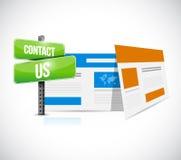 kontakta oss begreppet för rengöringsdukwebbläsaretecknet Royaltyfria Foton