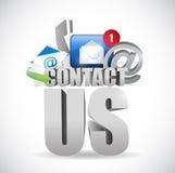 Kontakta oss för begreppsillustrationen för text 3d designen Fotografering för Bildbyråer