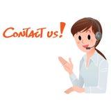 Kontakta oss! Le för kundtjänstkvinna Arkivbild
