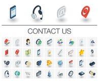 Kontakta oss och isometriska symboler för kommunikation vektor 3d vektor illustrationer