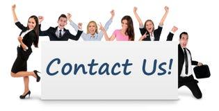 Kontakta oss på baner fotografering för bildbyråer
